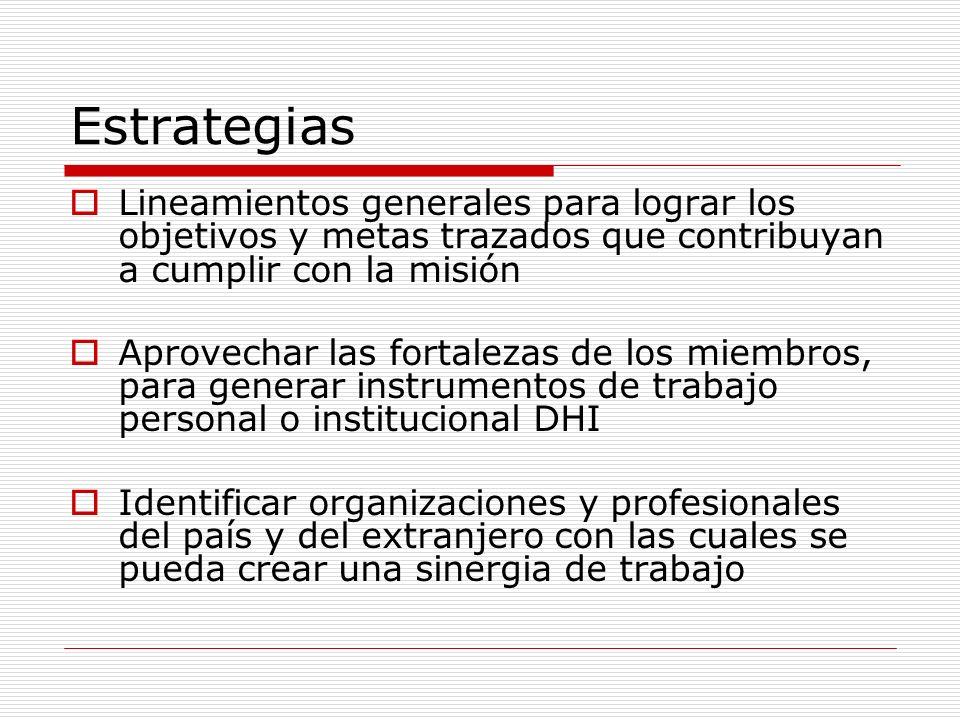 Estrategias Lineamientos generales para lograr los objetivos y metas trazados que contribuyan a cumplir con la misión Aprovechar las fortalezas de los