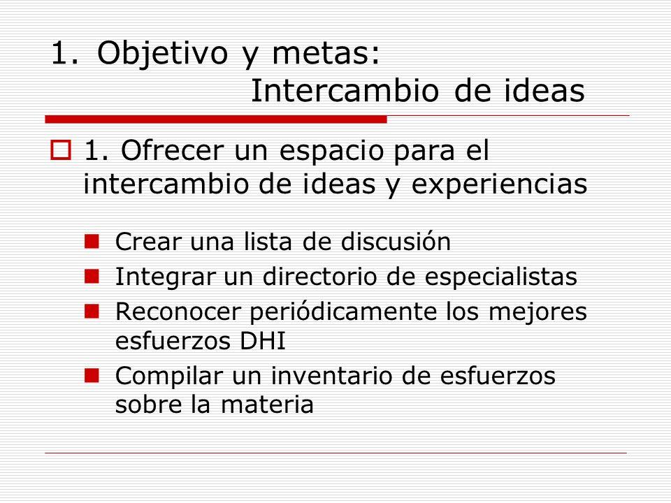 1.Objetivo y metas: Intercambio de ideas 1. Ofrecer un espacio para el intercambio de ideas y experiencias Crear una lista de discusión Integrar un di