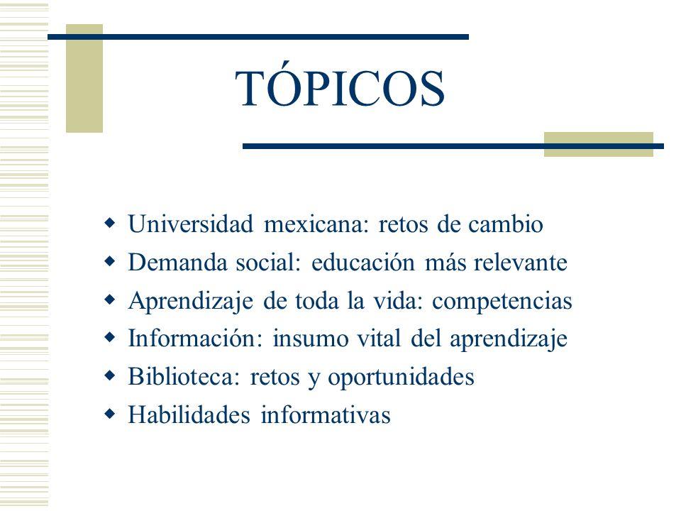 TÓPICOS Universidad mexicana: retos de cambio Demanda social: educación más relevante Aprendizaje de toda la vida: competencias Información: insumo vi