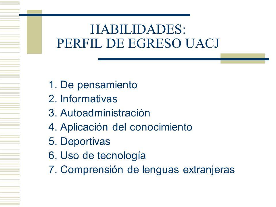 HABILIDADES: PERFIL DE EGRESO UACJ 1. De pensamiento 2. Informativas 3. Autoadministración 4. Aplicación del conocimiento 5. Deportivas 6. Uso de tecn