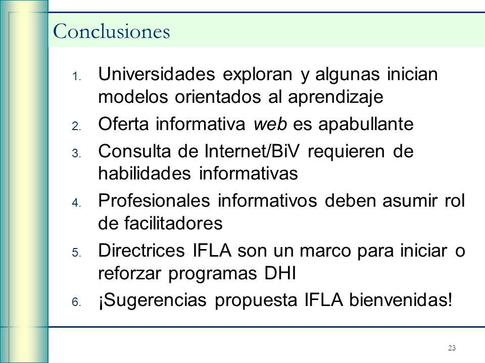 23 Conclusiones 1. Universidades exploran y algunas inician modelos orientados al aprendizaje 2. Oferta informativa web es apabullante 3. Consulta de