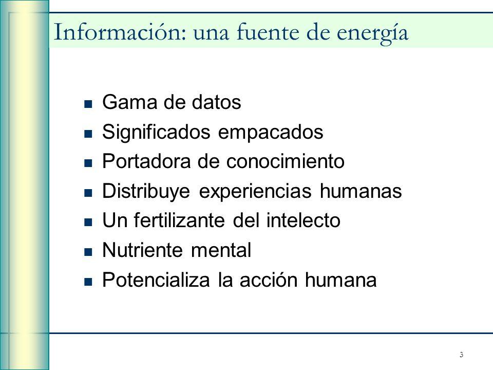 3 Información: una fuente de energía Gama de datos Significados empacados Portadora de conocimiento Distribuye experiencias humanas Un fertilizante de