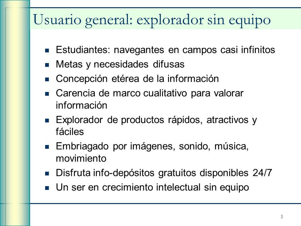 5 Usuario general: explorador sin equipo Estudiantes: navegantes en campos casi infinitos Metas y necesidades difusas Concepción etérea de la informac