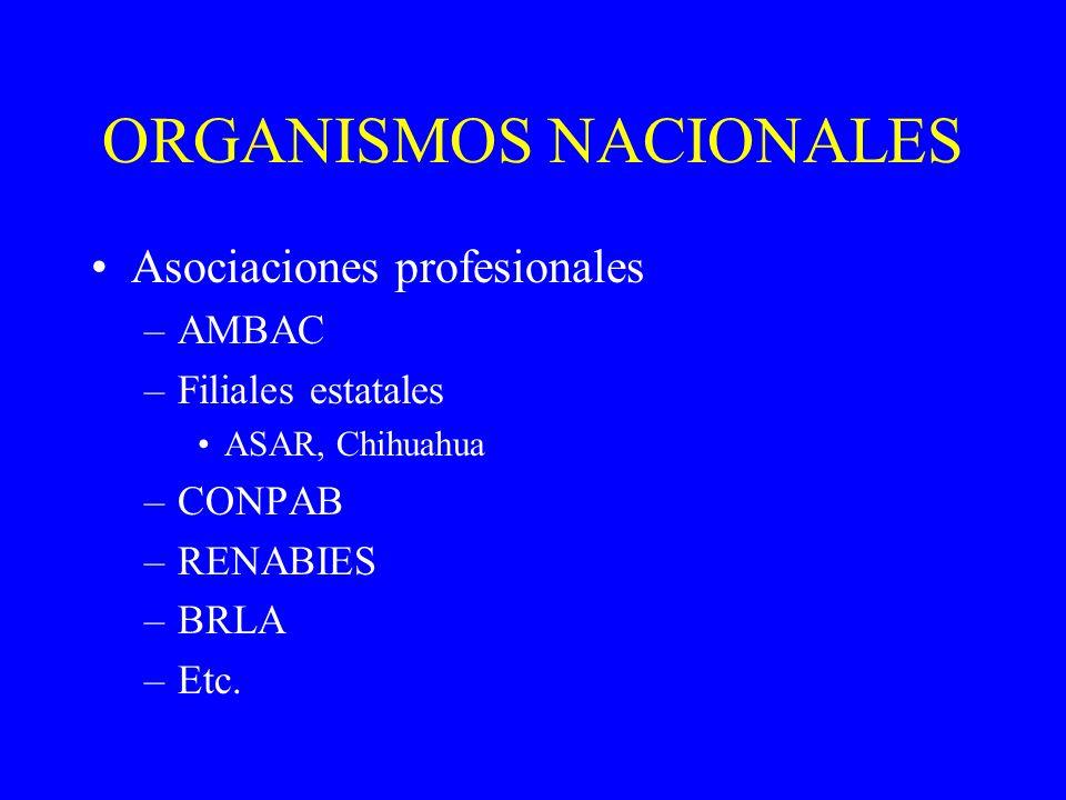 ORGANISMOS NACIONALES Asociaciones profesionales –AMBAC –Filiales estatales ASAR, Chihuahua –CONPAB –RENABIES –BRLA –Etc.