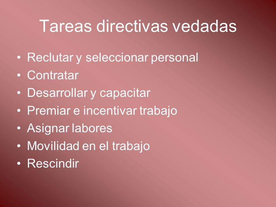 Tareas directivas vedadas Reclutar y seleccionar personal Contratar Desarrollar y capacitar Premiar e incentivar trabajo Asignar labores Movilidad en