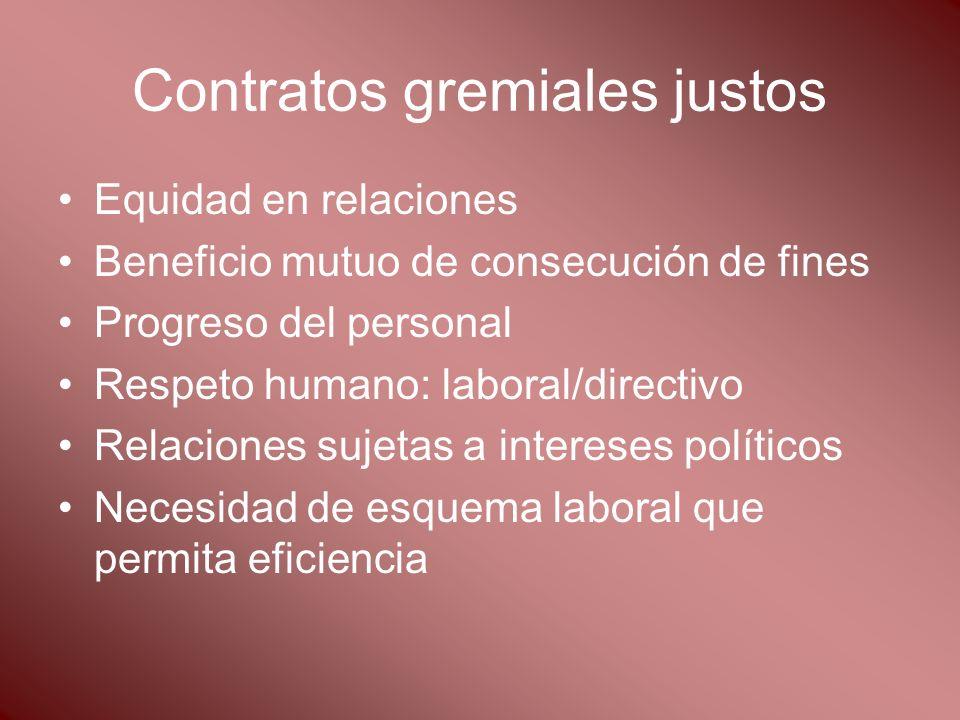 Contratos gremiales justos Equidad en relaciones Beneficio mutuo de consecución de fines Progreso del personal Respeto humano: laboral/directivo Relac