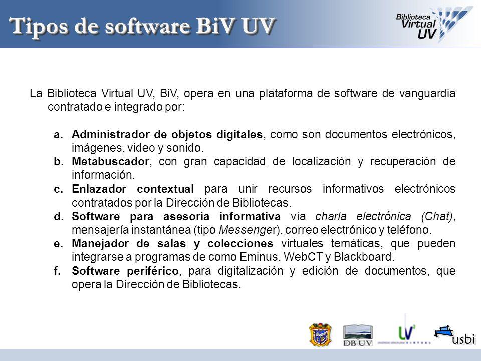 Tipos de software BiV UV La Biblioteca Virtual UV, BiV, opera en una plataforma de software de vanguardia contratado e integrado por: a.Administrador
