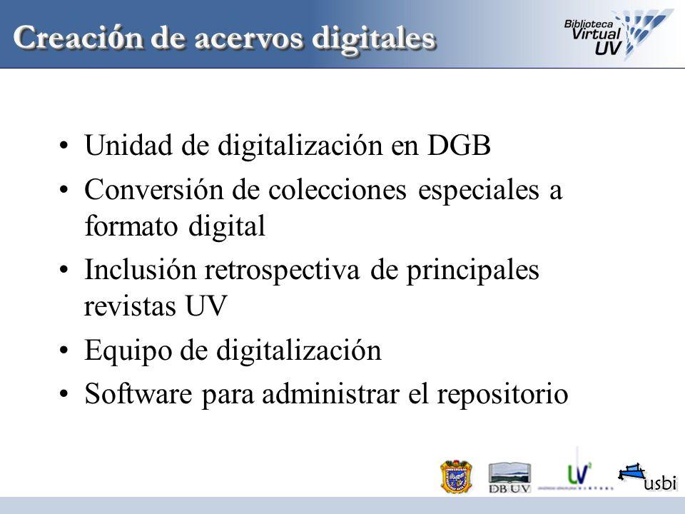 Unidad de digitalización en DGB Conversión de colecciones especiales a formato digital Inclusión retrospectiva de principales revistas UV Equipo de di