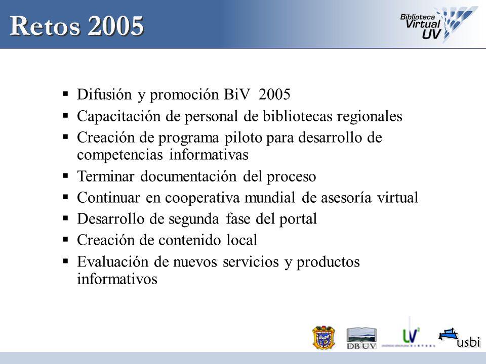 Retos 2005 Difusión y promoción BiV 2005 Capacitación de personal de bibliotecas regionales Creación de programa piloto para desarrollo de competencia