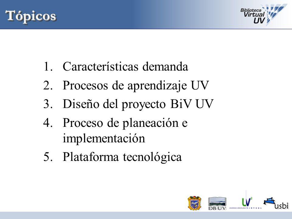 TópicosTópicos 1.Características demanda 2.Procesos de aprendizaje UV 3.Diseño del proyecto BiV UV 4.Proceso de planeación e implementación 5.Platafor