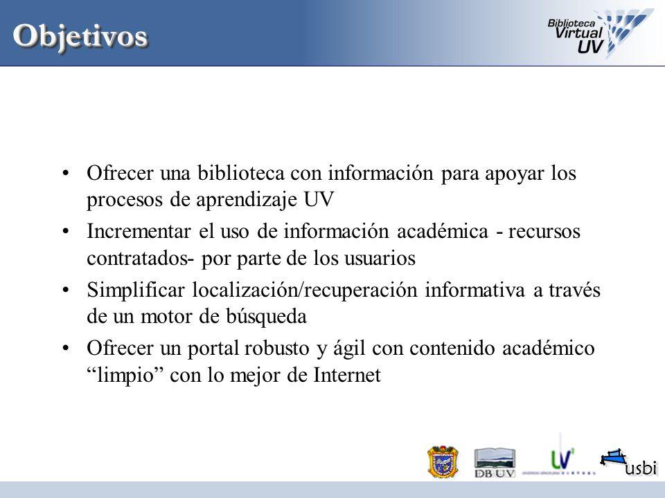ObjetivosObjetivos Ofrecer una biblioteca con información para apoyar los procesos de aprendizaje UV Incrementar el uso de información académica - rec