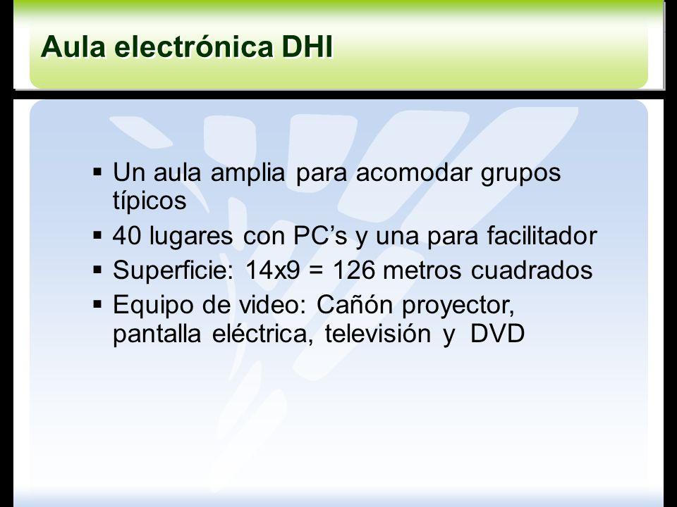Un aula amplia para acomodar grupos típicos 40 lugares con PCs y una para facilitador Superficie: 14x9 = 126 metros cuadrados Equipo de video: Cañón p