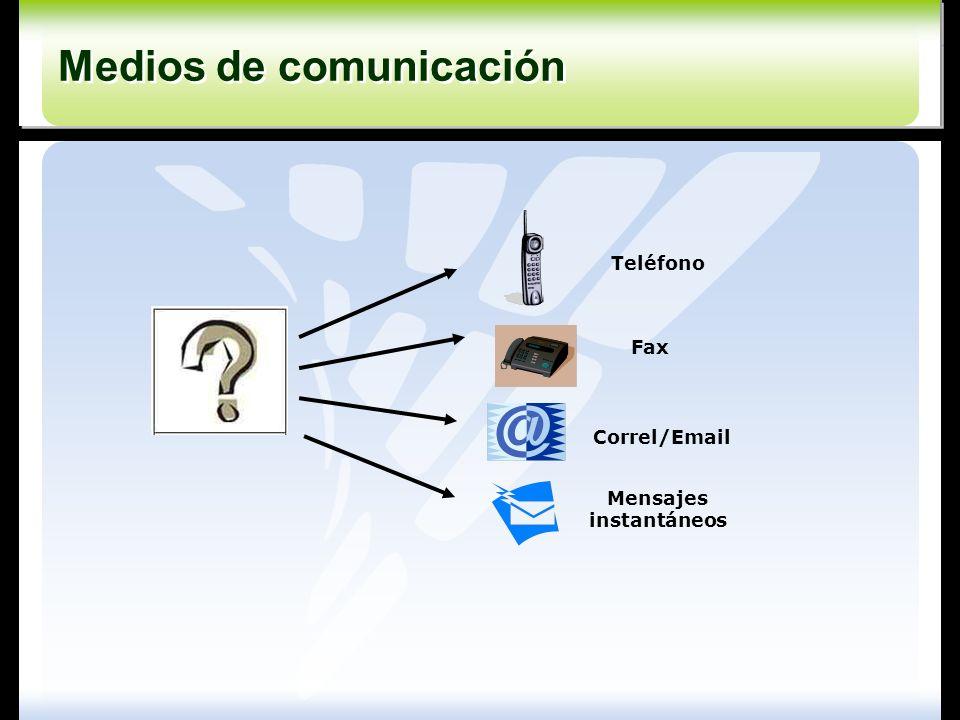 Teléfono Fax Correl/Email Mensajes instantáneos Medios de comunicación Medios de comunicación