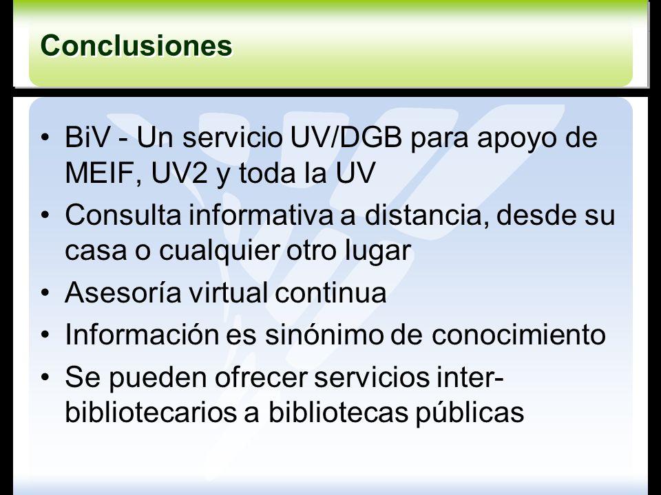 Conclusiones Conclusiones BiV - Un servicio UV/DGB para apoyo de MEIF, UV2 y toda la UV Consulta informativa a distancia, desde su casa o cualquier ot