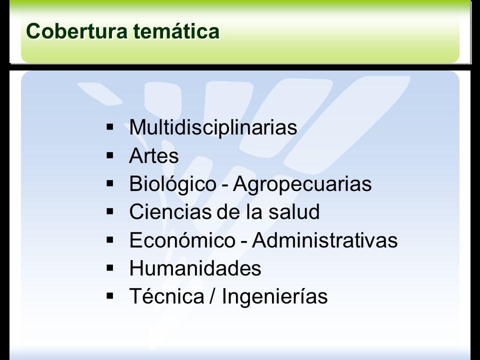 Multidisciplinarias Artes Biológico - Agropecuarias Ciencias de la salud Económico - Administrativas Humanidades Técnica / Ingenierías Cobertura temát