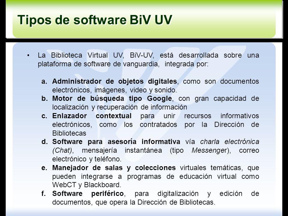 La Biblioteca Virtual UV, BiV-UV, está desarrollada sobre una plataforma de software de vanguardia, integrada por: a.Administrador de objetos digitale