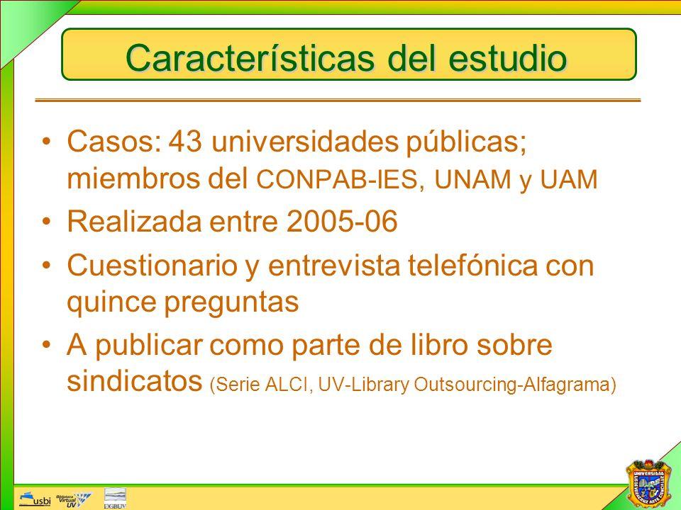 Características del estudio Casos: 43 universidades públicas; miembros del CONPAB-IES, UNAM y UAM Realizada entre 2005-06 Cuestionario y entrevista te