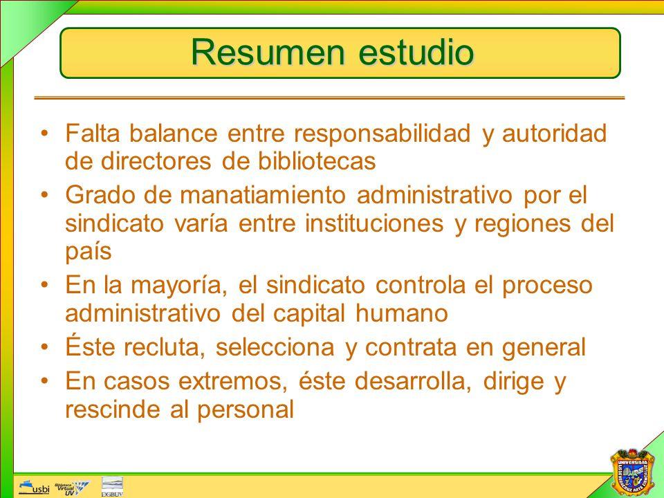 Resumen estudio Falta balance entre responsabilidad y autoridad de directores de bibliotecas Grado de manatiamiento administrativo por el sindicato va