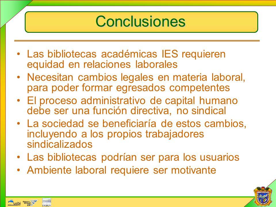 Conclusiones Las bibliotecas académicas IES requieren equidad en relaciones laborales Necesitan cambios legales en materia laboral, para poder formar