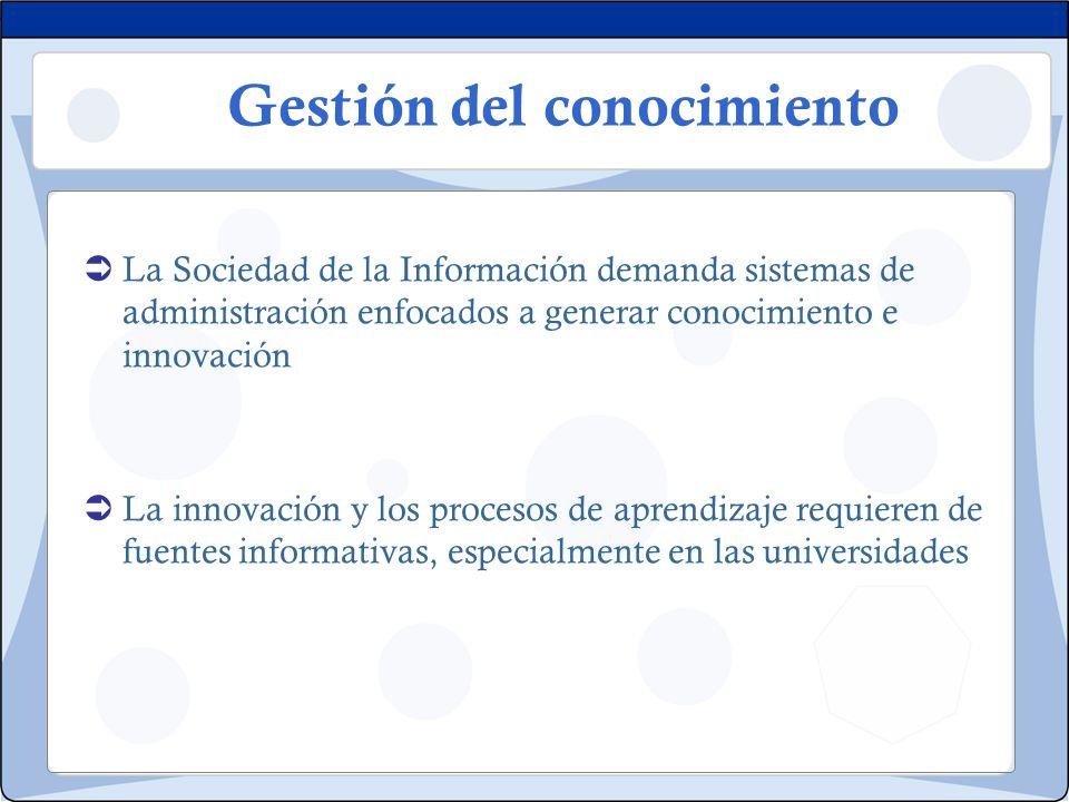 Gestión del conocimiento La Sociedad de la Información demanda sistemas de administración enfocados a generar conocimiento e innovación La innovación