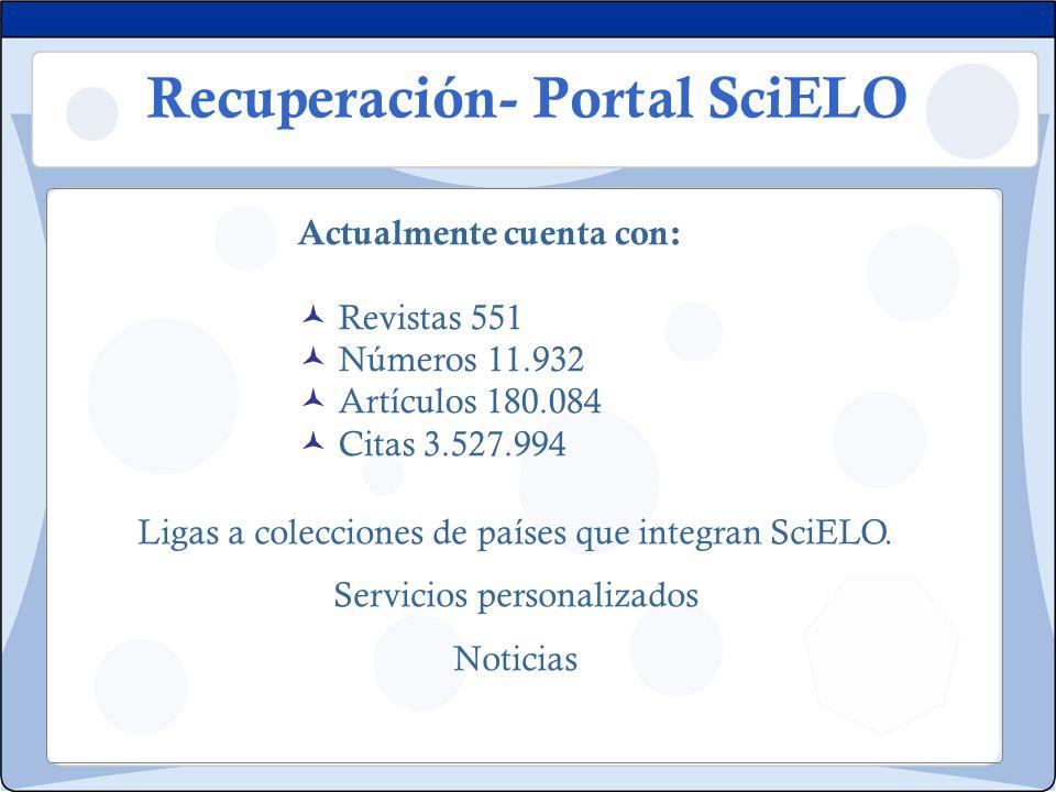 Recuperación- Portal SciELO Actualmente cuenta con: Revistas 551 Números 11.932 Artículos 180.084 Citas 3.527.994 Ligas a colecciones de países que in