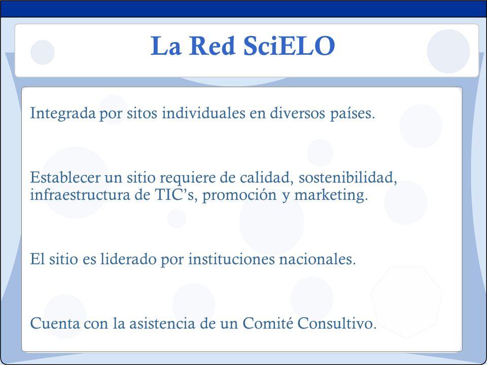 La Red SciELO Integrada por sitos individuales en diversos países. Establecer un sitio requiere de calidad, sostenibilidad, infraestructura de TICs, p