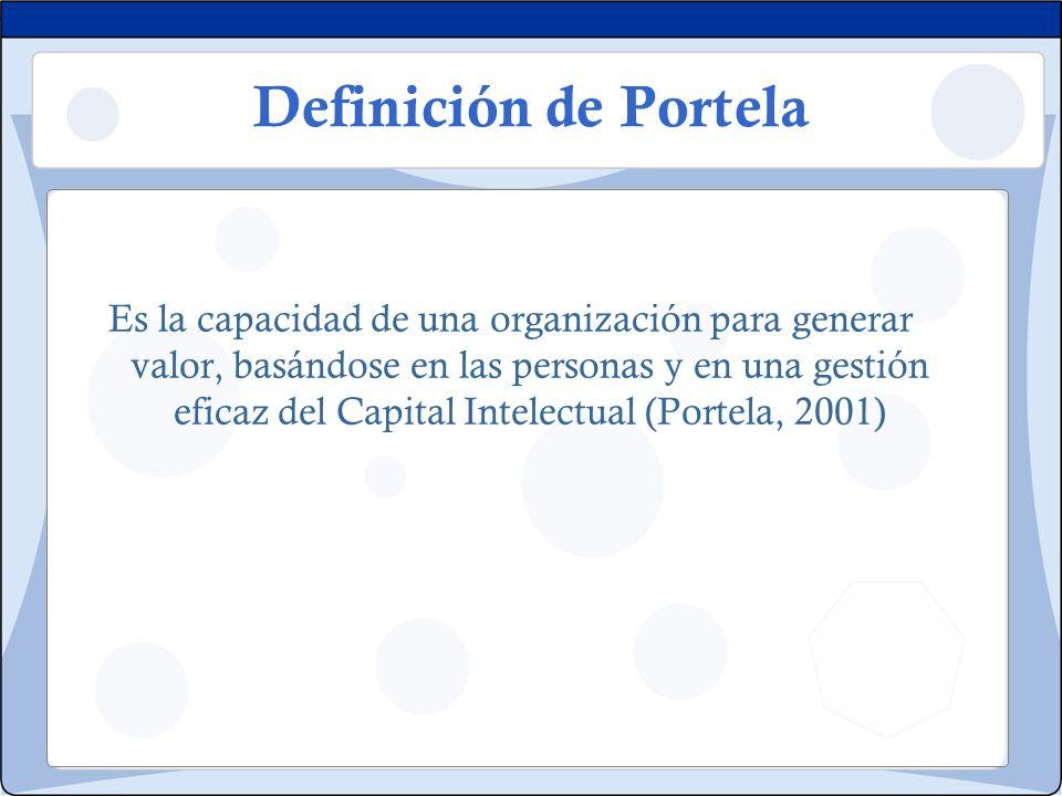 Definición de Portela Es la capacidad de una organización para generar valor, basándose en las personas y en una gestión eficaz del Capital Intelectua