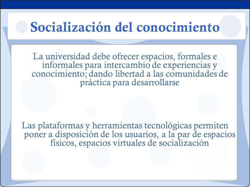 Socialización del conocimiento La universidad debe ofrecer espacios, formales e informales para intercambio de experiencias y conocimiento; dando libe