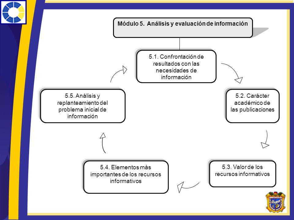 Módulo 5. Análisis y evaluación de información 5.1. Confrontación de resultados con las necesidades de información 5.4. Elementos más importantes de l