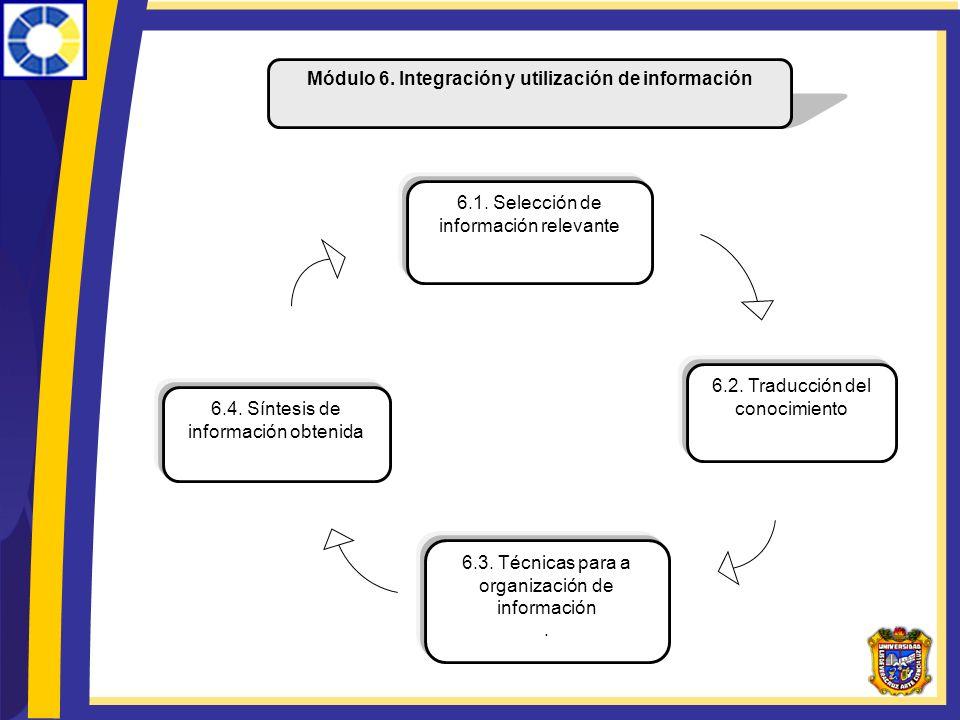 Módulo 6. Integración y utilización de información 6.1. Selección de información relevante 6.4. Síntesis de información obtenida 6.2. Traducción del c