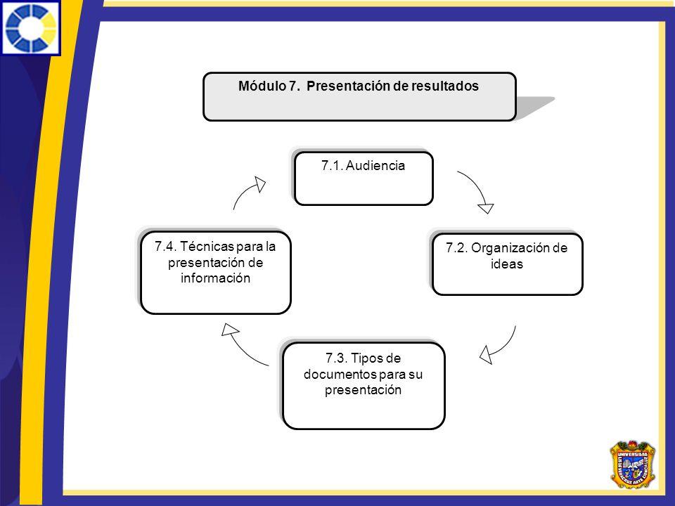 Módulo 7. Presentación de resultados 7.1. Audiencia 7.4. Técnicas para la presentación de información 7.2. Organización de ideas 7.3. Tipos de documen