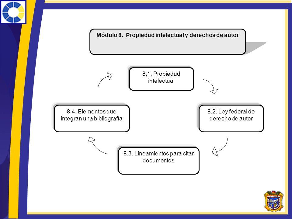 Módulo 8. Propiedad intelectual y derechos de autor 8.1. Propiedad intelectual 8.4. Elementos que integran una bibliografía 8.2. Ley federal de derech
