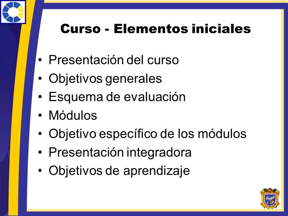 Curso - Elementos iniciales Presentación del curso Objetivos generales Esquema de evaluación Módulos Objetivo específico de los módulos Presentación i