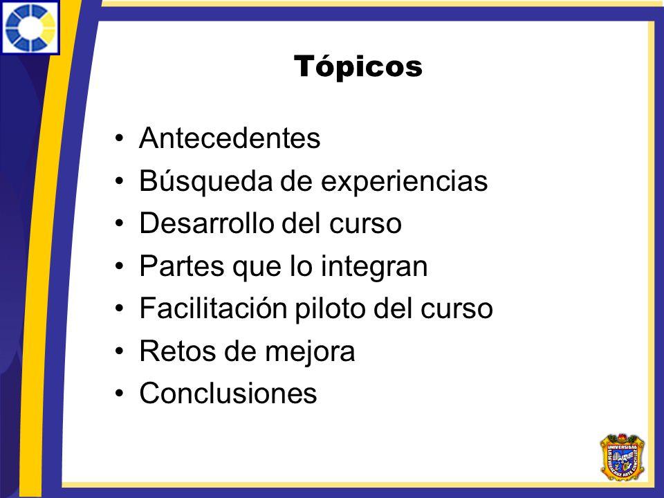 Tópicos Antecedentes Búsqueda de experiencias Desarrollo del curso Partes que lo integran Facilitación piloto del curso Retos de mejora Conclusiones