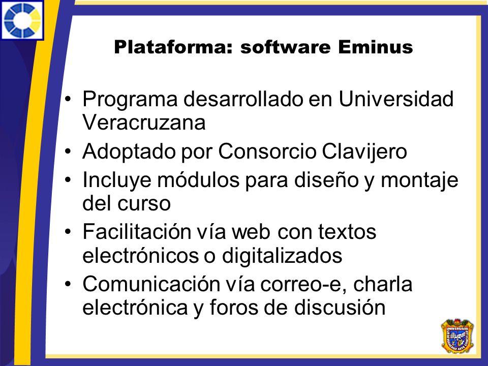 Plataforma: software Eminus Programa desarrollado en Universidad Veracruzana Adoptado por Consorcio Clavijero Incluye módulos para diseño y montaje de