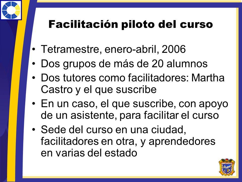 Facilitación piloto del curso Tetramestre, enero-abril, 2006 Dos grupos de más de 20 alumnos Dos tutores como facilitadores: Martha Castro y el que su