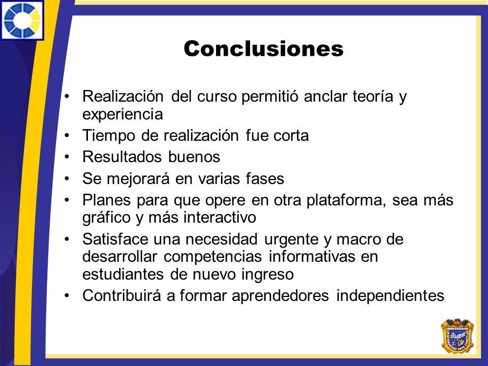 Conclusiones Realización del curso permitió anclar teoría y experiencia Tiempo de realización fue corta Resultados buenos Se mejorará en varias fases