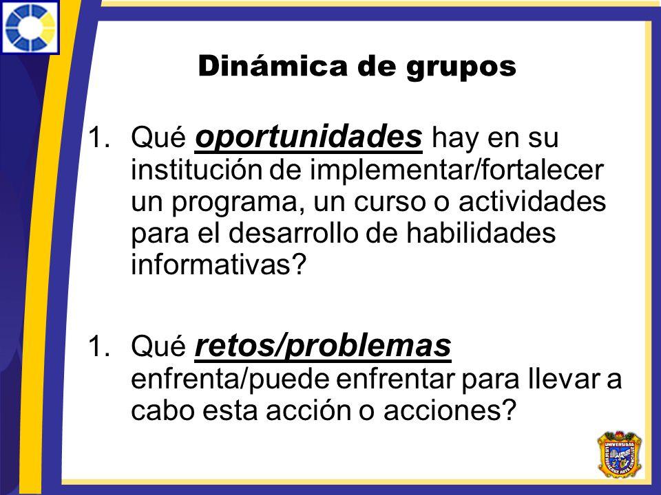 Dinámica de grupos 1.Qué oportunidades hay en su institución de implementar/fortalecer un programa, un curso o actividades para el desarrollo de habil