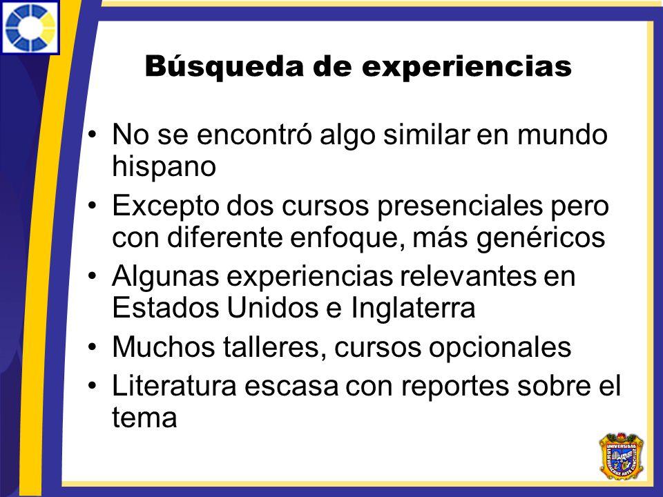 Búsqueda de experiencias No se encontró algo similar en mundo hispano Excepto dos cursos presenciales pero con diferente enfoque, más genéricos Alguna