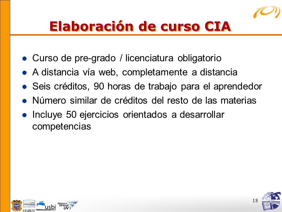 18 Elaboración de curso CIA Elaboración de curso CIA l Curso de pre-grado / licenciatura obligatorio l A distancia vía web, completamente a distancia