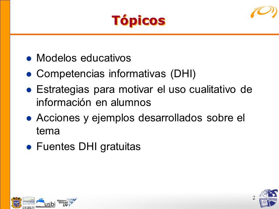 2 Tópicos Tópicos l Modelos educativos l Competencias informativas (DHI) l Estrategias para motivar el uso cualitativo de información en alumnos l Acc