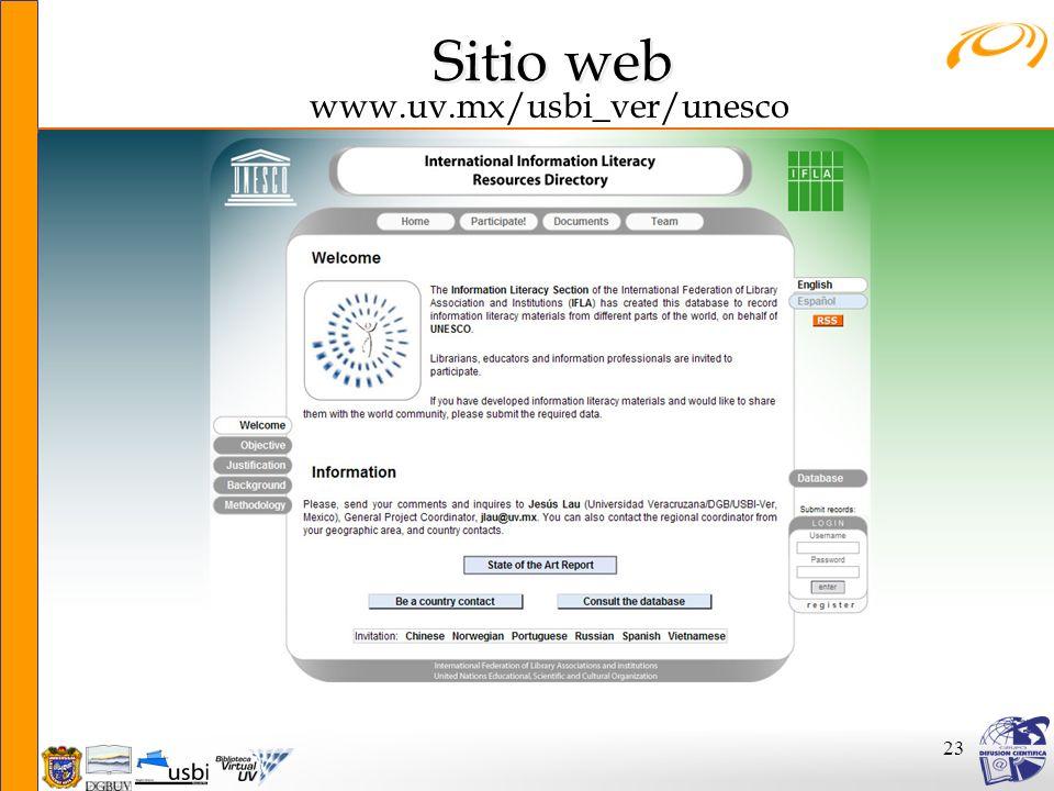 23 www.uv.mx/usbi_ver/unesco Sitio web Sitio web