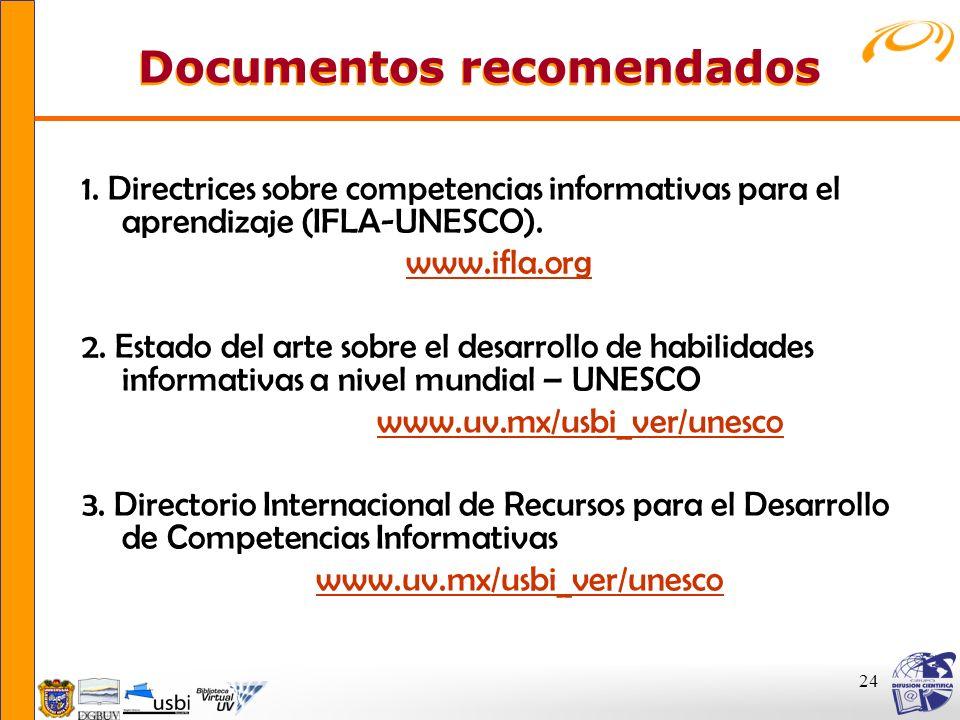 24 Documentos recomendados 1. Directrices sobre competencias informativas para el aprendizaje (IFLA-UNESCO). www.ifla.org 2. Estado del arte sobre el