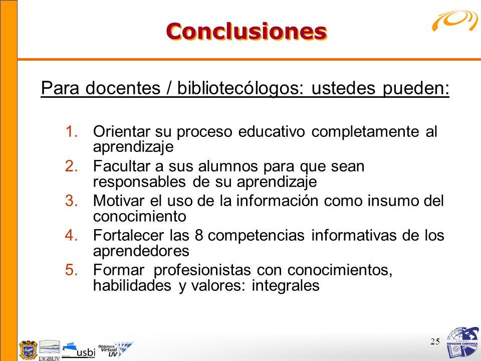 25 Conclusiones Conclusiones Para docentes / bibliotecólogos: ustedes pueden: 1.Orientar su proceso educativo completamente al aprendizaje 2.Facultar