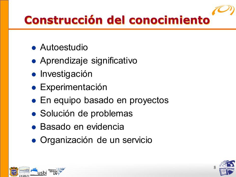 8 Construcción del conocimiento Construcción del conocimiento l Autoestudio l Aprendizaje significativo l Investigación l Experimentación l En equipo