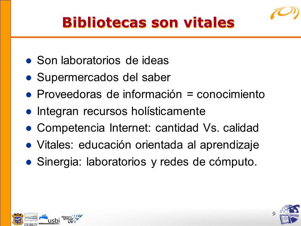 9 Bibliotecas son vitales Bibliotecas son vitales l Son laboratorios de ideas l Supermercados del saber l Proveedoras de información = conocimiento l