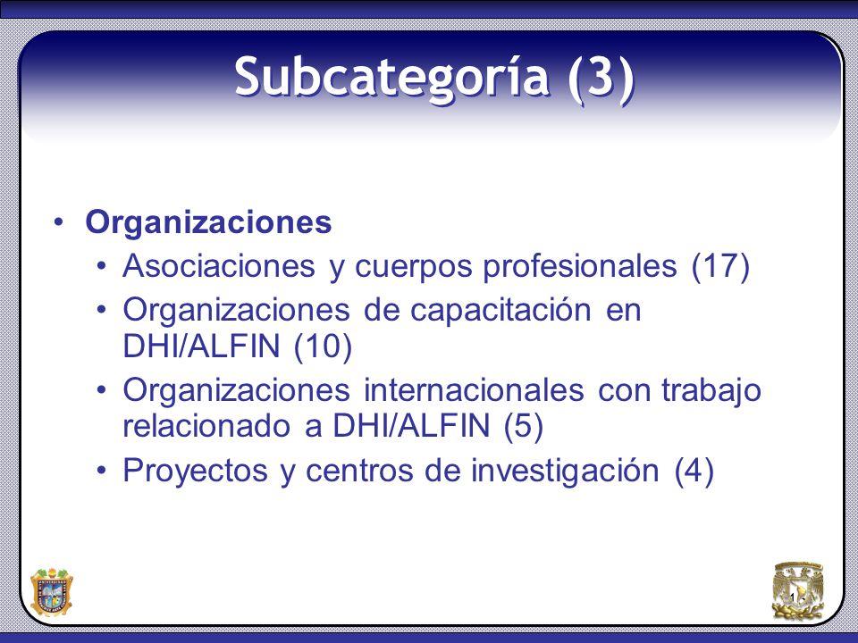 15 Subcategoría (3) Organizaciones Asociaciones y cuerpos profesionales (17) Organizaciones de capacitación en DHI/ALFIN (10) Organizaciones internaci