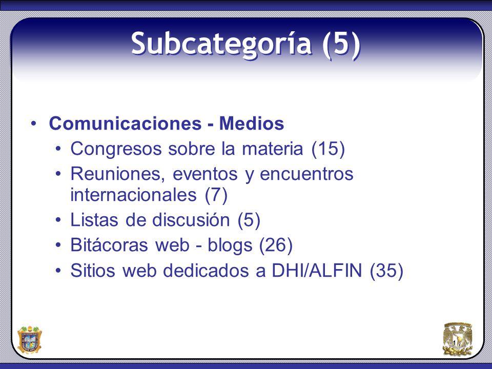 17 Subcategoría (5) Comunicaciones - Medios Congresos sobre la materia (15) Reuniones, eventos y encuentros internacionales (7) Listas de discusión (5