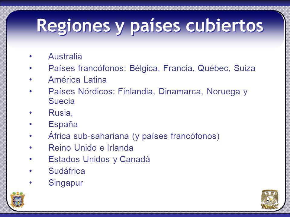 23 Regiones y países cubiertos Australia Países francófonos: Bélgica, Francia, Québec, Suiza América Latina Países Nórdicos: Finlandia, Dinamarca, Nor