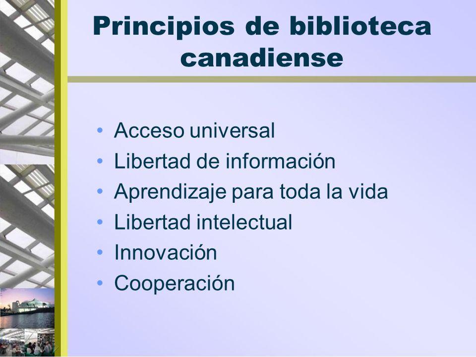 Principios de biblioteca canadiense Acceso universal Libertad de información Aprendizaje para toda la vida Libertad intelectual Innovación Cooperación